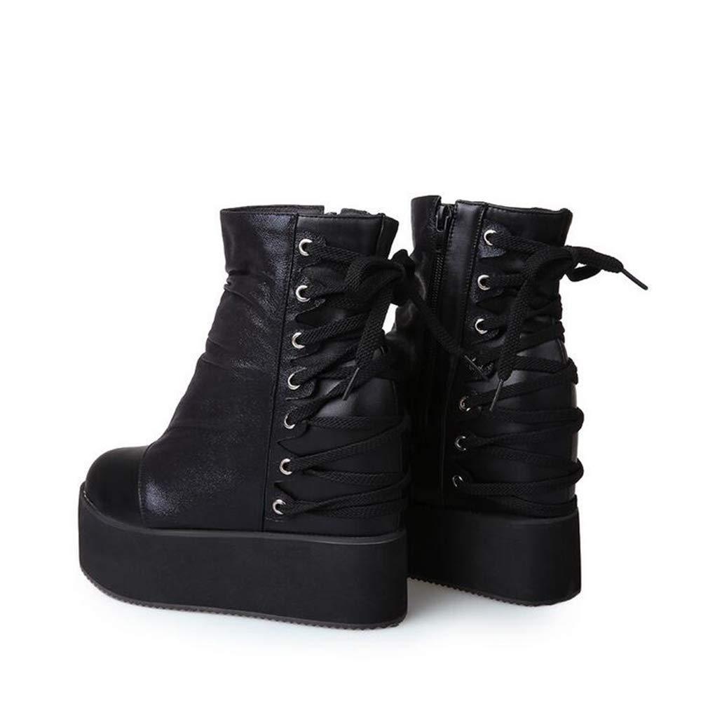 Hy Damenstiefeletten Stiefel Dicke untere Mode Stiefel Damen Comfort Martins Stiefel Damenstiefeletten Abendschuhe Party & Abend (Farbe   Schwarz Größe   37) 9e17ed