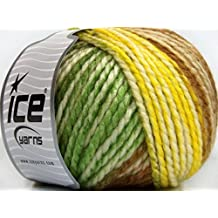 Lot of 4 x 100gr Skeins Ice Yarns FUN WOOL BULKY (25% Wool) Yarn Brown Green Yellow White