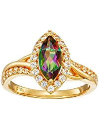 Sterling Silver with Yellow Gold Plating Marquise Mystic Fire Topaz and Created White Sapphire Ring, Size 7