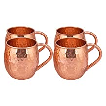 TREETOP Copper Mugs (Set of 4) | PREMIUM QUALITY |475 ML|Solid Copper Moscow Mule, Hammered Finish, Extra Shine | 100% Genuine Product | IMPETUS