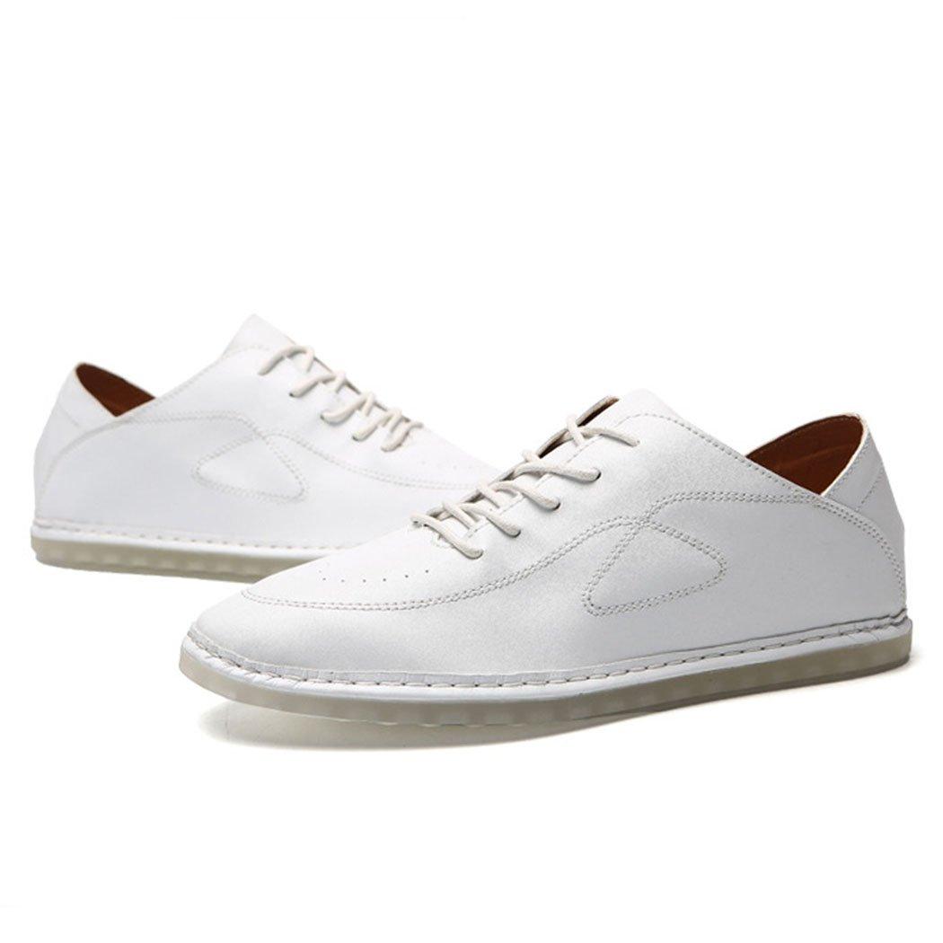 GAOLIXIA Zapatos ocasionales de los hombres de negocios zapatos de trabajo transpirables de la primavera del verano Zapatos de los guisantes mocasines de los hombres Tamaño grande: 38-47 negro, marrón, blanco 47|Blanco