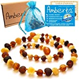 Amber Teething Necklace for Babies Amberta® - Teething Pain & Drooling Relief, Anti Inflammatory, Immune System Boost - 100% Pure Amber, Raw, Twist-in Screw Clasp, Handmade