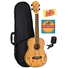 Oscar Schmidt OU7T Spalted Mango Long Neck Tenor Ukulele Bundle with Gearlux Case, Austin Bazaar Instructional DVD, Clip-On Tuner, and Polishing Cloth