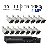 Q-See 4MP HD 1080p+ Complete IP Video Security Surveillance System - 14 Bullet Cameras & 16 POE Channel NVR with 3 Terabytes