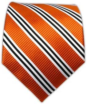 100% Woven Silk Tangerine Bar Striped Tie