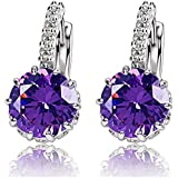 Fashion Women Lady Elegant Crystal Rhinestone Zircons Ear Stud Earrings Jewelry EW (Purple)