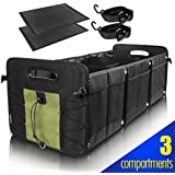 GEEDAR Trunk Organizer SUV Car Organizers and Storage SUV, Truck, Auto, Minivan, Jeep Accessories Trunk Cargo Organizer 3-in-1 Convertible Collapsible Portable Non-Slip Bottom with Tie Down Straps