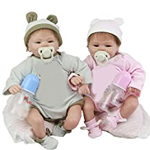 Soft Reborn Baby Girl And Boy Soft Silicone 17 Inch 43 cm Newborn Twins Babies With Handmade Bear Clothes Kids Birthday Xmas Gift,Boy and Girl Twins for Patients with Anxiety Disorder