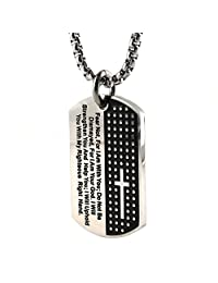 HZman Silver Black Stainless Steel Men's Carved Cross and Lord's Prayer Dog Tag Pendant Necklace