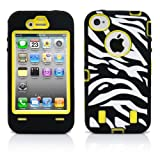 iPhone 4S Case, MagicMobile® Hybrid Rubber Shockproof Case for iPhone 4s White and Black [Zebra] Pattern Design Impact Resistant Heavy Duty Cover iPhone 4 Armor Case Protective (Yellow) Plastic Cover