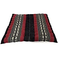 Design by UnseenThailand Meditation Zabuton Mat, Kapok Fabric, 30x28x2 inches. (Black - Red)