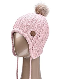 Toddler Ear Flap Beanie Unisex Children Winter Real Fox Fur Pom Pom Hat
