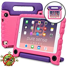 Apple iPad Mini 4 case for kids -  [ANTI MICROBIAL IPAD MINI 4 KIDS CASE] PURE SENSE BUDDY Child Proof Shock Protective Cover for Girls | Shoulder Strap, Handle, Cleaning Kit, Screen Protector (Pink)