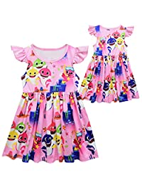 AICSOLL Girls Cotton Ruffled Sleeveless Skater Dresses Kids Baby Shark Clothes Outfits 2-8T