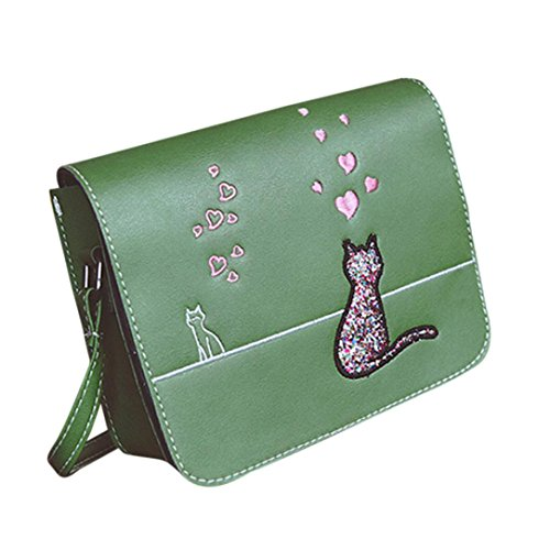 Sinwo Women Cat Printing Handbag Bags Shoulder Bags Girls Messenger Bag (Green)