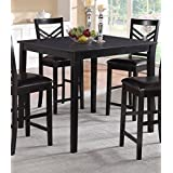 Poundex Espresso Finish Square Counter Height Dining Table
