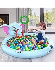 AOLUXLM Kinderbadje voor kinderen vanaf 3 jaar, zomers outdoor speelgoed, Splash opblaasbaar zwembad met 3 ringen, olifant 170 x 170 x 60 cm, sprinkler waterspeelgoed