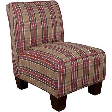 Skyline Kids Armless Chair Plaid Brown