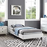 Modway MOD-5422-WHI Linnea Upholstered Platform Bed with Wood Slat Support, Twin, White