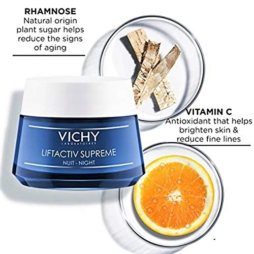 Vichy LiftActiv Supreme Night Cream, Anti Aging Face Cream with Vitamin C & Rhamnose to Firm & Brighten, Suitable for Sensitive Skin