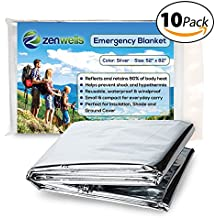 "Emergency Blanket (10-Pack), Silver 52"" x 82"". Designed for NASA. Waterproof, Mylar Thermal Blankets Best for Backpacking, First Aid Kits, Car Emergency, Outdoor and Earthquake Survival Kit"
