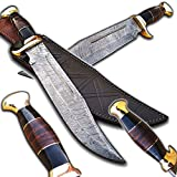 Hand Made Damascus Steel Out Back American Bowie