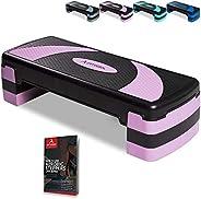 arteesol Aerobic Step Stepper, Exercise Step Platform, Adjustable 3 Level (10/15/20 cm) Non-Slip Surface Worko
