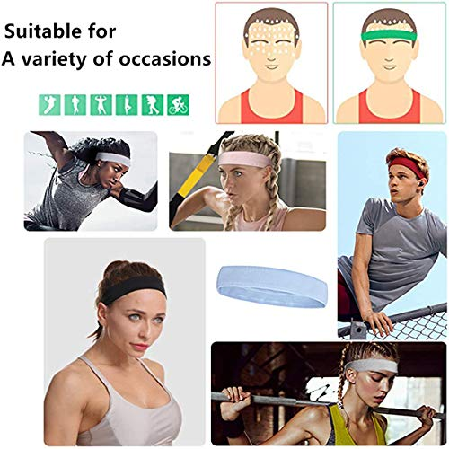 DOMEI Womens Workout Sweat Headband Non Slip,Moisture Wicking Yoga Headbands for Women,Stretchy Sports Headbands for Women