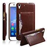 """For Huawei Y6/Huawei Y6+ Case , ivencase Luxury PU Leather Card Slot Hard Back Case with Kickstand Skin Cover Fit Huawei Y6/Huawei Y6+/Honor 4A Brown + One """"ivencase """" Anti-dust Plug Stopper"""