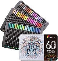 Zenacolor 60 Rotuladores Punta Fina 60 Colores Únicos - Boligrafo Fineliner 0,4 mm Colorear, Dibujar, Manga, Mandalas y...