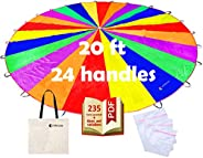 Play Parachute for Kids 6 ft 20 ft with Dirt Resistant Handles Rainbow Parachute Kids Party Games Outdoor Toys