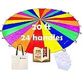 VOMLine Play Parachute for Kids 12 ft 20 ft Dirt