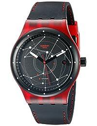 Swatch Unisex SUTR400 Sistem Red Analog Display Automatic Self Wind Black Watch