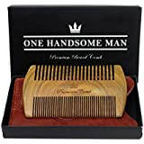 The Ultimate Beard Comb - Quality Sandalwood Beard Comb with Gift Box and Luxurious PU Leather Travel Case - Gift For Him - Birthday Gifts For Men