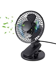 QINUKER Desk Usb Powered Oscillating Clip Fan, Mini Table Portable Cooling Quiet Personal Fans RotatingAdjustable Angle with 3 Speed Settings for Baby Stroller Home Office School Camping Travel Black
