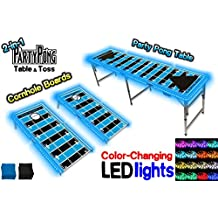 2-in-1 Cornhole Boards & Beer Pong Table w/ Color-Changing LED Glow Lights - Carolina Football Field