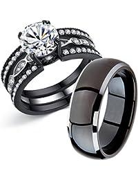 Couple Rings Black Men's Titanium Matching Band Women CZ Stainless Steel Engagement Wedding Sets