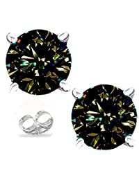 RINGJEWEL Silver Plated Round Real Moissanite Stud Earrings (1.71 Ct,Brown Green Color,VS1 Clarity)