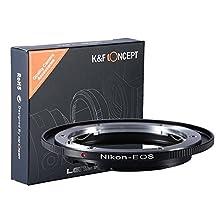 Nikon AI AI-S Lens to Canon EOS EF Camera, K&F Concept Lens Mount Adapter for T5i T4i T3i T3 D6000 D30 60D 50D 550D 500D 5D
