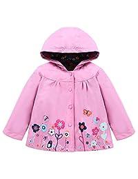 LZH Toddler Girls Raincoat Waterproof Outwear Coat Jacket with Hoodies