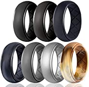 Egnaro Silicone Ring for Men, 7 Rings / 4 Rings / 1 Ring Step Edge Rubber Wedding Bands 8.5mm Wide - 2.5mm Thi