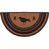VHC Brands Primitive Flooring-Heritage Farms Tan Half Circle Jute Rug, 14.5 x 29, Crow