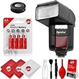 Opteka IF-800 Autofocus Speedlight Flash with Built-In LED Video Light w/IR Remote + Cleaning Kit for Canon 80D, 77D, 70D, 7D, 6D, 5D, T7i, T7s, T6i, T6, T5i, T5, T4i, T3i, T3, T2i, SL1 DSLR Cameras
