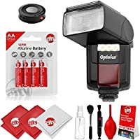 Opteka IF-800 Autofocus Speedlight Flash with Built-In LED Video Light w/ IR Remote + Cleaning Kit for Canon 80D, 77D, 70D, 7D, 6D, 5D, T7i, T7s, T6i, T6, T5i, T5, T4i, T3i, T3, T2i, SL1 DSLR Cameras