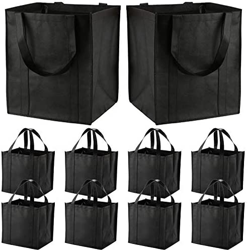 10 Pack Large Reusable Grocery Bags with Reinforced Handles - Heavy Duty Shopping Tote luggage can Hold 50 LBS, Flodable, Eco-Friendly