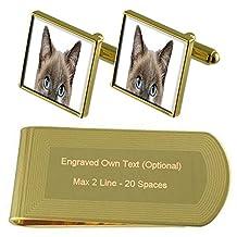 Peeking Cat Face Gold-tone Cufflinks Money Clip Engraved Gift Set
