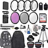 58mm 28 Pc Accessory Kit for Canon EOS Rebel SL1, 100D DSLR with 0.43x Wide Angle Lens, 2.2x Telephoto Lens, 32GB SD, Filter & Macro Kits, Backpack Case, and More
