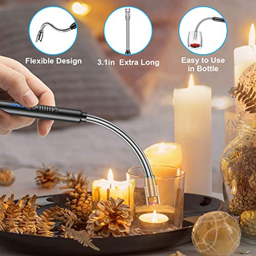 Candle Lighter, USB Rechargeable Electric Plasma Arc Lighter with 360°Flexible Long Neck and LED Battery Display, Flameless Windproof Triple Safety Stainless Steel Shell Lighter(Black)