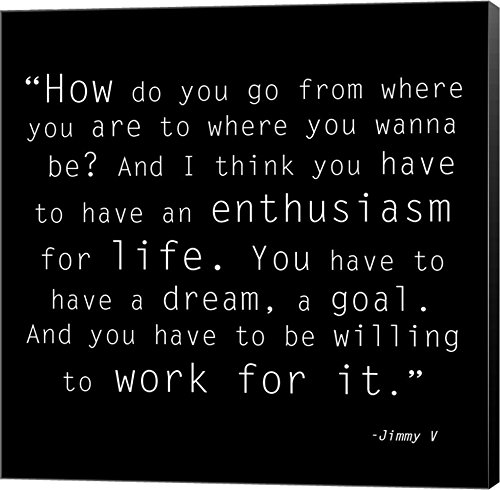 Enthusiasm for Life, Jimmy V Quote Canvas Art Wall Picture, Museum Wrapped with Black Sides, 8 x 8 inches