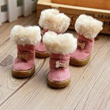 Cute Pet Bone Snow Boots for Dogs Nonslip Winter Pet Boots 4 Pcs (Pink, 4)